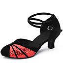 abordables Pelucas Sintéticas de Malla-Mujer Zapatos de Baile Latino Lentejuelas / Terciopelo Sandalia Tacón Cuadrado No Personalizables Zapatos de baile Negro y Oro / Negro y