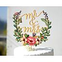 baratos Decorações de Bolo-bolo topper tema do jardim tema floral tema clássico tema vintage casal clássico acrílico / poliéster aniversário de casamento com # saco poli