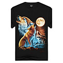 cheap Jewelry Sets-Men's Sports / Club Street chic / Punk & Gothic Cotton Slim T-shirt - Animal Wolf, Print Round Neck / Short Sleeve