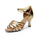cheap Jazz Shoes-Women's Latin Shoes / Salsa Shoes Satin Sandal Buckle Customized Heel Customizable Dance Shoes Silver / Brown / Gold / Performance