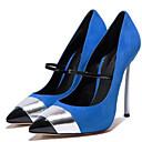baratos Sapatos de Salto-Mulheres Sapatos Courino Primavera / Verão Saltos Salto Agulha Dedo Apontado Presilha / Combinação Vermelho / Azul / Festas & Noite