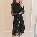 رخيصةأون رسومات زيتية-أسود ميدي طول الركبة حامل سادة - فستان متناوب قياس كبير عمل ذهاب للخارج للمرأة