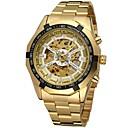 preiswerte Mechanische Uhren-FORSINING Herrn Armbanduhr Mechanische Uhr Automatikaufzug Transparentes Ziffernblatt Edelstahl Band Analog Luxus Modisch Gold - Gold Weiß Schwarz