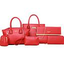 cheap Bag Sets-Women's Bags PU(Polyurethane) Bag Set Zipper Red / Yellow / Fuchsia