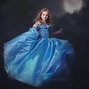رخيصةأون فساتين البنات-لفتاة فستان سادة بوليستر نايلون صيف كم قصير أزرق