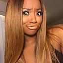 olcso Emberi hajból készült parókák-Remy haj Tüll homlokrész / Csipke eleje Paróka Egyenes Ombre Paróka 130% Ombre haj / Természetes hajszálvonal / Afro-amerikai paróka Ombre Női Rövid / Közepes / Hosszú Emberi hajból készült parókák