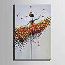 זול ציורי אנשים-ציור שמן צבוע-Hang מצויר ביד - אנשים סגנון ארופאי מודרני בַּד