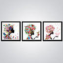cheap Stretched Canvas Prints-Print Stretched Canvas Prints - Abstract / Cartoon Modern Three Panels