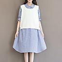 preiswerte Herrenhalbschuhe-Damen Übergrössen Ausgehen Baumwolle Lose Kleid Gestreift Asymmetrisch Hemdkragen / mit feinen Streifen