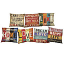 cheap Pillow Covers-7 pcs Linen Pillow Case Pillow Cover, Solid Quotes & Sayings Wildlife Textured Novelty Casual Beach Style Bolster Traditional/Classic