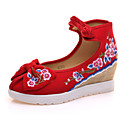 cheap Women's Flats-Women's Shoes Canvas Spring / Summer / Fall Comfort / Novelty / Embroidered Shoes Oxfords Walking Shoes Flat Heel Round Toe Buckle / Flower Beige / Red / Blue