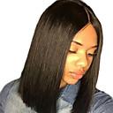 halpa Rooliasu peruukki-Synteettiset pitsireunan peruukit Suora Bob-leikkaus Synteettiset hiukset Keskijakaus / Luonnollinen hiusviiva Musta Peruukki Naisten Lyhyt Lace Front