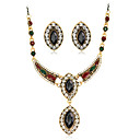 cheap Jewelry Sets-Women's Jewelry Set - Resin, Rhinestone Fashion, Euramerican Include Pendant Necklace Black / Red / Green For Wedding Party Anniversary