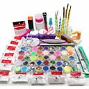 preiswerte Nagel-Funkeln-Nagelkunst-Kit Acrylpulver Flüssigkeit Glitter UV Gel Kleber Spitzen-Pinsel-Set
