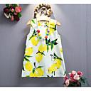 זול אוברולים טריים לתינוקות-שמלה כותנה קיץ ללא שרוולים חוף אחיד פרחוני הילדה של פרחוני סרט מצוייר צהוב כחול ים