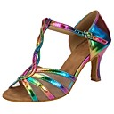 preiswerte Latein Schuhe-Damen Salsa Tanzschuhe Kunstleder Sandalen / Absätze Schnalle / Rüschen Maßgefertigter Absatz Maßfertigung Tanzschuhe Regenbogen
