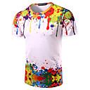 Hombre Simple Noche Casual/Diario Playa Camiseta,Escote Redondo Estampado Manga Corta Algodón Multicolor