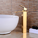 cheap Faucet Accessories-Contemporary Centerset Waterfall Ceramic Valve Single Handle One Hole Ti-PVD, Bathroom Sink Faucet