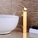 baratos Torneiras de Banheiro-Moderna Conjunto Central Cascata Válvula Cerâmica Monocomando e Uma Abertura Ti-PVD, Torneira pia do banheiro