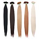 billige Fusionerede hårforlængelser-Fusion / U-tip Menneskehår Extensions Lige Menneskehår Medium Rødbrun Afbleget Blond Mellembrun