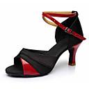 baratos Almofadas de Decoração-Mulheres Sapatos de Dança Latina Courino / Tecido Sandália / Salto Presilha Salto Cubano Personalizável Sapatos de Dança Preto e Dourado