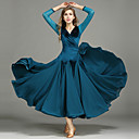 cheap Ballroom Dance Wear-Ballroom Dance Women's Performance Chiffon / Velvet Ruffles Long Sleeve Dress