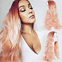cheap Synthetic Lace Wigs-Synthetic Lace Front Wig Body Wave Pink Synthetic Hair Natural Hairline Pink Wig Women's Long / Very Long Lace Front Pink OUO Hair