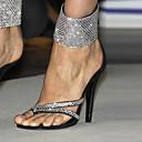 olcso Női magassarkú cipők-Női Cipő Gyapjú Tavasz / Nyár Club cipő Szandálok Tűsarok Strasszkő Fekete / Party és Estélyi / Party és Estélyi