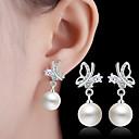 preiswerte Ohrringe-Imitierte Perlen Tropfen-Ohrringe - Regulär Weiß Für Hochzeit / Party / Alltag / Normal