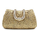 cheap Clutches & Evening Bags-Women's Bags Polyester / Satin Evening Bag Sequin / Crystal / Rhinestone Gold / Black / Silver