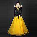 cheap Latin Dance Wear-Ballroom Dance Dresses Women's Performance Chinlon / Organza Crystals / Rhinestones Long Sleeve Dress