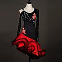 cheap Dance Costumes-Latin Dance Dresses Women's Performance Spandex / Organza Ruffles / Flower / Splicing Long Sleeve Natural Dress