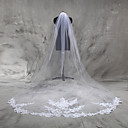 cheap Wedding Shoes-One-tier Lace Applique Edge Wedding Veil Cathedral Veils 53 Appliques Tulle