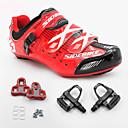 billige Sykkelsko-SIDEBIKE Voksne Sykkelsko med pedal og tåjern / Veisykkelsko Karbonfiber Demping Sykling Herre