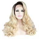 billige Syntetiske blondeparykker-Syntetisk Lace Front Parykker Naturligt, bølget hår Syntetisk hår Varme resistent / Ombre-hår / Mørke hårrødder Sort Paryk Dame Lang Blonde Front / Natural Hairline