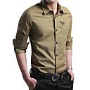 baratos Pulseiras-Homens Camisa Social Diário Casual Primavera Outono, Sólido Algodão Colarinho de Camisa Manga Longa