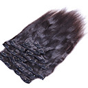 cheap Hair Braids-clip in hair extension yaki straight brazilian hair natrual black yaki straight clip in human hair weaves 8pcs set 10 26 inch