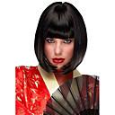 abordables Pelucas para Disfraz-Pelucas sintéticas Recto Corte Bob Pelo sintético Raya en medio Negro Peluca Mujer Corta Sin Tapa Negro