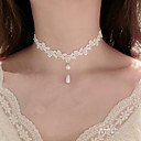 cheap Choker Necklaces-Women's Choker Necklace / Pendant - Imitation Pearl, Lace Flower Tattoo Style, Dangling Style White Necklace Jewelry For Wedding, Party, Special Occasion / Birthday / Engagement / Daily / Casual