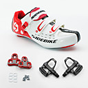 hesapli Fanlar ve Plaj Şemsiyeleri-SIDEBIKE Yetişkin Pedallı ve Kelepçeli Bisiklet Ayakkabıları / Yol Bisiklet Ayakkabıları Karbon fiber Tamponlama Bisiklet Kırmızı ve Beyaz Erkek
