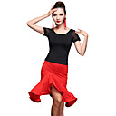 cheap Latin Dance Wear-Latin Dance Outfits Women's Training Spandex / Tulle / Milk Fiber Ruffles / Splicing Short Sleeves Natural Top / Skirt