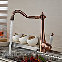 cheap Bathroom Sink Faucets-Antique Traditional Standard Spout Centerset Widespread Ceramic Valve Single Handle One Hole Antique Brass , Kitchen faucet