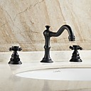 cheap Bathroom Sink Faucets-Bathroom Sink Faucet - Widespread Oil-rubbed Bronze Centerset Two Handles Three Holes