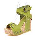 baratos Sandálias Femininas-Mulheres Sapatos Couro Ecológico Verão / Outono Conforto / Gladiador Sandálias Caminhada Salto Plataforma Dedo Aberto Tachas / Presilha