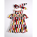 cheap Girls' Dresses-Girl's Daily Striped Plaid Dress, Cotton Summer Check Red