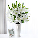 cheap Artificial Flower-Artificial Flowers 1 Branch Pastoral Style Lilies Tabletop Flower