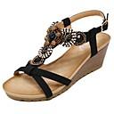 cheap Women's Sandals-Women's Shoes Microfiber Spring / Summer Comfort / Light Soles Sandals Walking Shoes Wedge Heel Round Toe Beading / Buckle Black / Almond / Wedge Heels