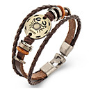 cheap Men's Bracelets-Zodiac Leather Bracelet - Leather Cancer 6.22 - 7.22 Vintage Bracelet Brown For Gift