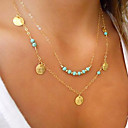 cheap Necklaces-Women's Turquoise Pendant Necklace - Gold Plated, Turquoise Personalized, Basic, Double-layer Silver, Golden Necklace Jewelry For Party, Daily, Casual