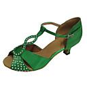baratos Pulseiras-Mulheres Sapatos de Dança Latina Cetim Sandália Pedrarias Salto Personalizado Sapatos de Dança Verde / Interior